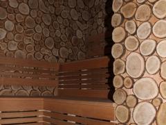 внутренняя отделка бани из спилов много